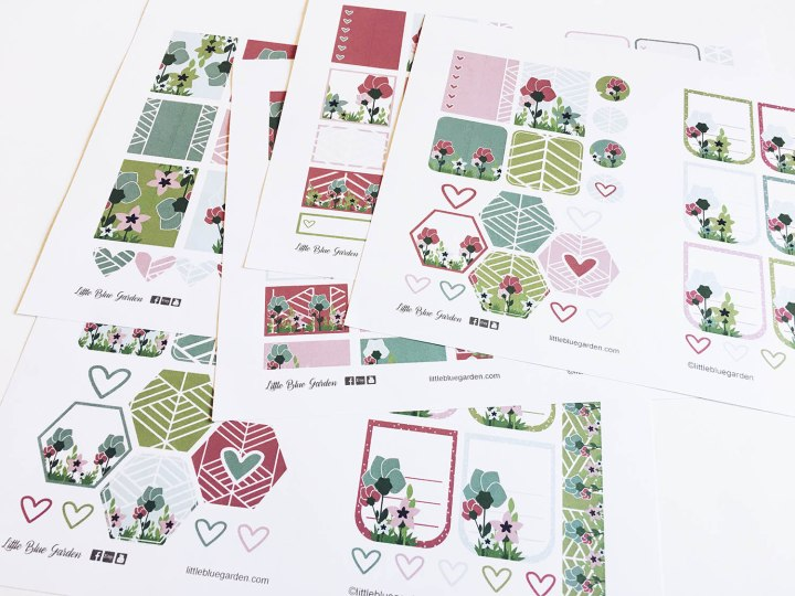 Juneberry Geo Floral Stickerbook pages
